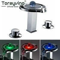 Бортике Водопад смесители, смесители и краны воды Мощность светодиодный смеситель Chrome ванной светодиодный кран JN6301