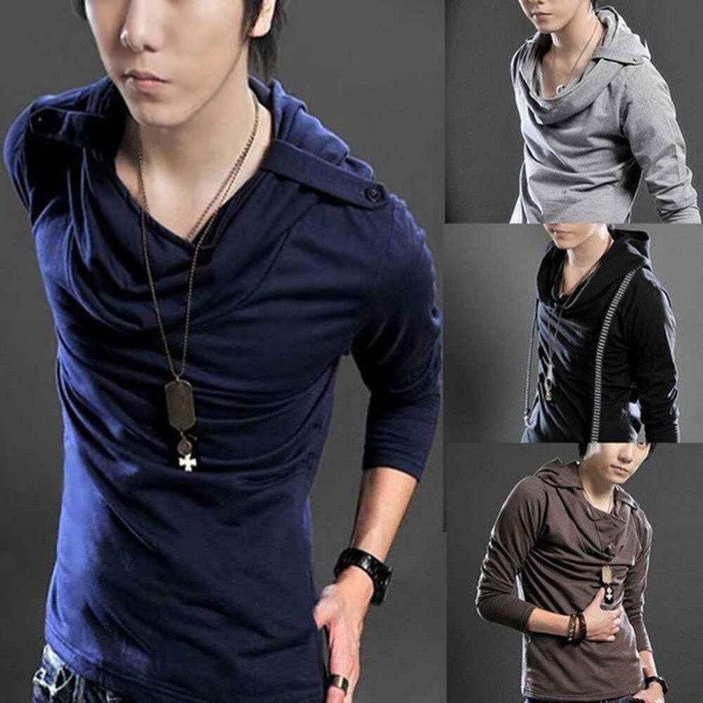 Hot Korean Badges Hooded Design Men's Long Sleeve T Shirt
