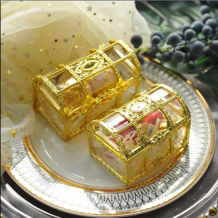 30PCS/20PCS Top Grade Large Size Treasure Box Gold Transparent Plastic Wedding Gift Boxes Baby Shower Candy Box Jewellery Box