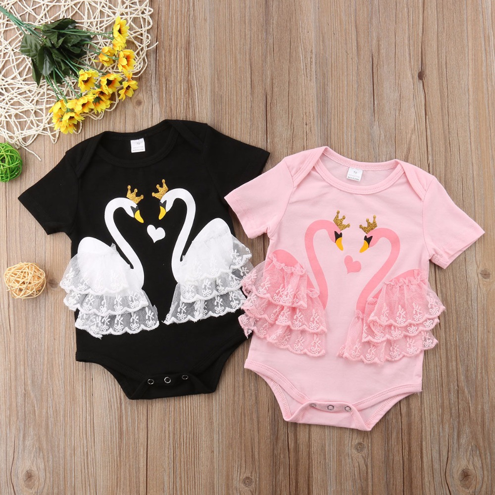 Baby Baby meisjes doek Lace Swan Romper 2 kleuren Cartoon Print - Babykleding - Foto 1