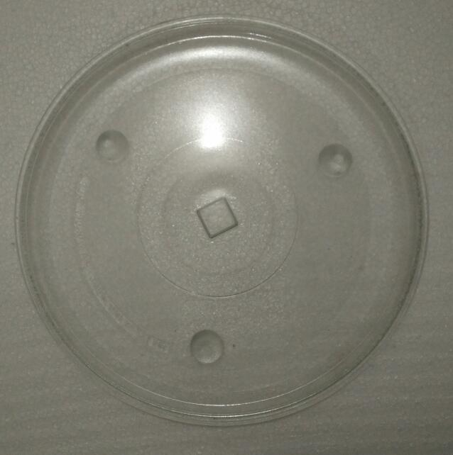 28cm thickness quality microwave oven glass rotary plate square hole glass dish square core
