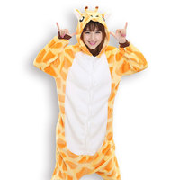 Adults Flannel Pyjama Suits Cosplay Costumes Garment Cute Cartoon Giraffe Animal Onesies Pajamas Giraffe Halloween Free