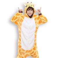Adults Flannel Pyjama Suits Cosplay Costumes Garment Cute Cartoon Giraffe Animal Onesies Pajamas Giraffe Halloween Free
