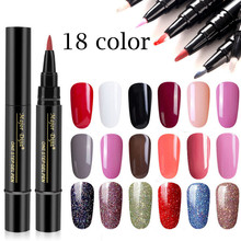 SALE 18 Colors Practical 3 In 1 Step Nail Gel Painting Varnish Pen Glitter One Polish Hybrid To Use UV Lacquer
