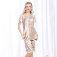 2017 Female Sexy Satin Silk Pajama Set High Quality Lounge Pajamas Pijama Pyjama Plus Size Short Sleeves Women Nightwear