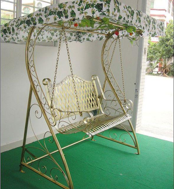 Iron Basket Swing Wicker Chair Hanging Indoor Outdoor Double Rocking