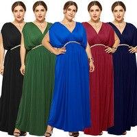 3a0603240b Plus Size Maxi Dress Sexy Solid V Neck Women Summer Dresses Xxxl Robe  Longue Long Party