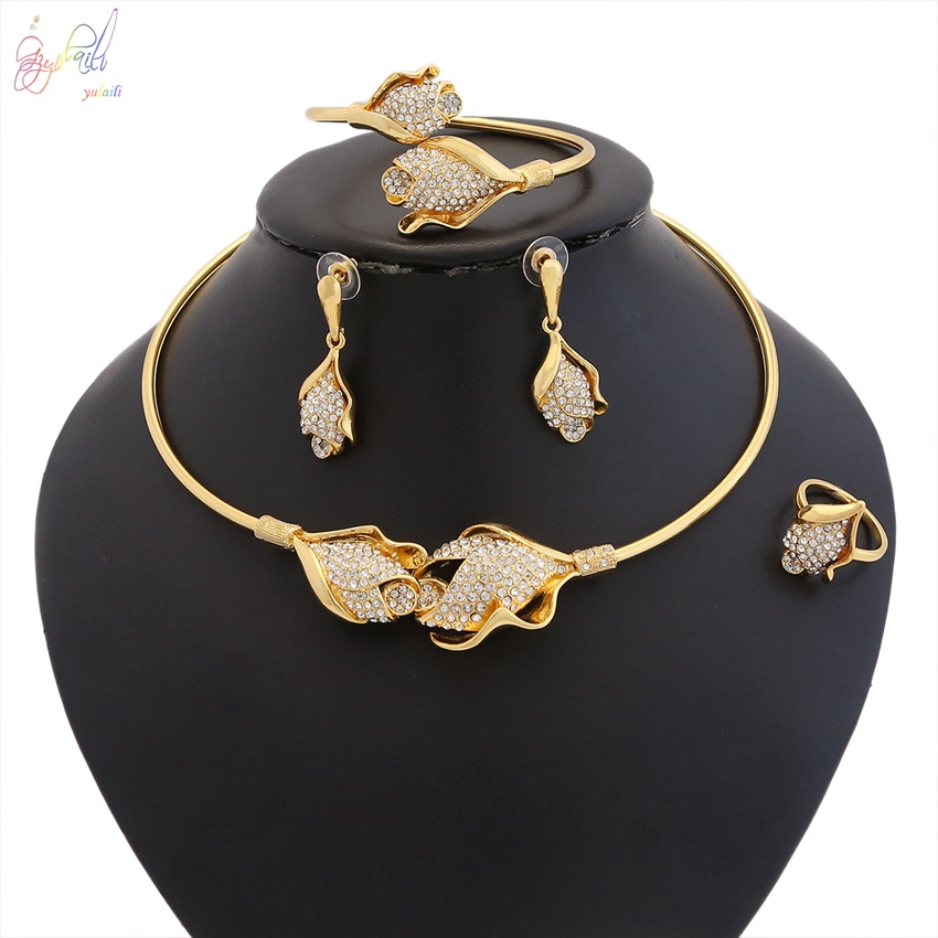 YULAILI New Fashion African Beads Accessories Exquisite Dubai Pure Gold Color Jewelry Set Nigerian Wedding Bridal Bijoux