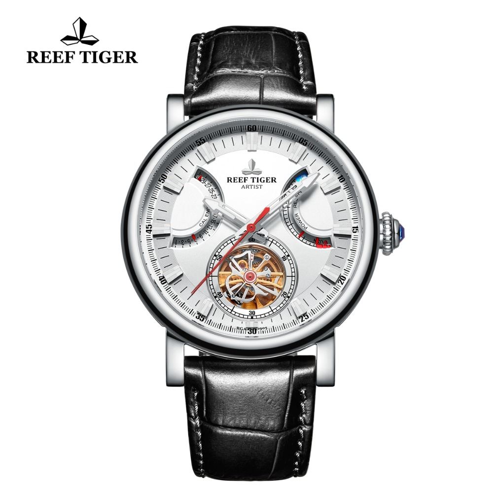 Reef Tiger/RT Fashion Dress Mens Watches Steel White Dial Sapphire Glass Automatic Watches Black Leather Strap Watch RGA1950Reef Tiger/RT Fashion Dress Mens Watches Steel White Dial Sapphire Glass Automatic Watches Black Leather Strap Watch RGA1950