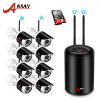 Newest ANRAN Plug Play 4CH Wireless Camera Surveillance System 7 LCD NVR Kit 1TB HDD P2P