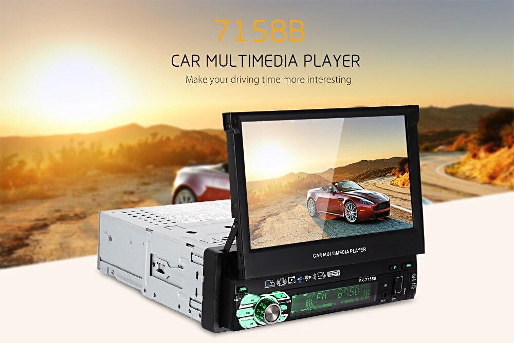 7158B simple 1 Din écran tactile voiture lecteur multimédia Bluetooth AM FM Radio Auto voiture stéréo lecteur vidéo Support vue arrière