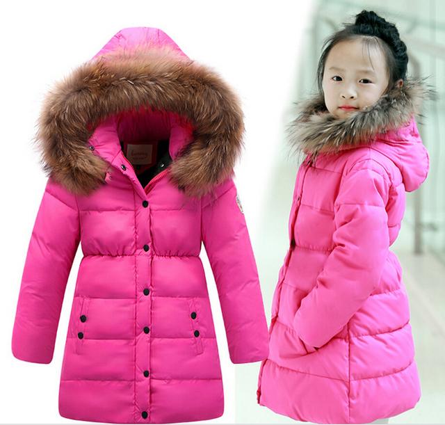 2016 Moda Inverno Da Menina para baixo Casacos Casacos quentes bebê menina 100% de pato Para Baixo Crianças jaqueta grossa Crianças Outerwears para o frio inverno