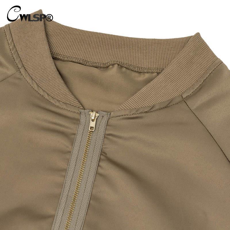 CWLSP Musim Gugur Satin Bomber Jaket untuk Wanita Coats Zipper Lengan - Pakaian Wanita - Foto 6