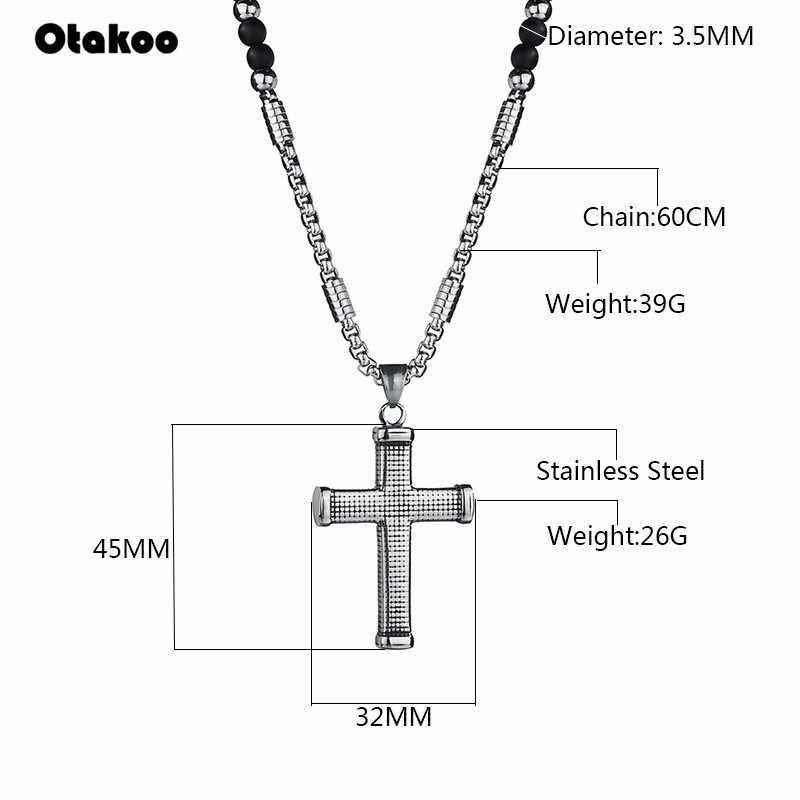 Otakoo rosaries beads long chain necklaces men women Prayer rosary catholic chotk jesus christ cross pendant Stainless jewelry