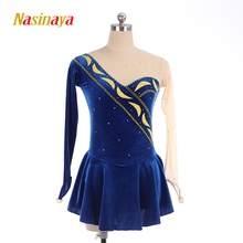 customized blue velvet ice figure skating dress rhythmic gymnastics adult child girl skirt competition rhinestone long sleeve customized costume ice figure skating dress gymnastics competition white adult child performance blue rhinestone sleeveless