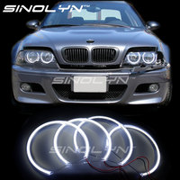 Pour Bmw E46/E39/E38/E36 Ange Yeux 3 5 7 série HID Style LED COB Lumières Halo Anneaux Rénovation BRICOLAGE Kit 131mm * 4 Blanc Voiture style