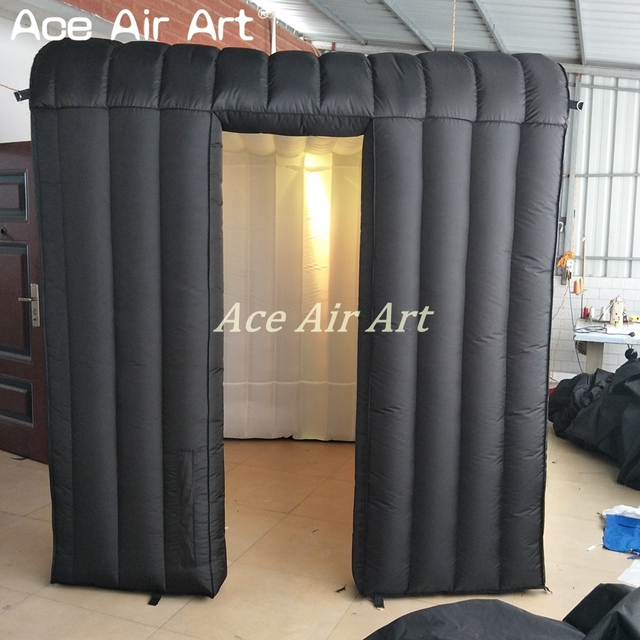 customized Durable designed logo black outside and white inside Inflatable photo booth cube with door next to door