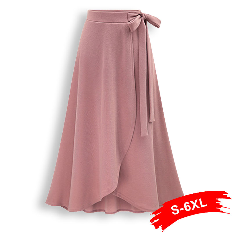 Womens Plus Size 3Xl 5Xl Irregular A-Line Skirts Self Tie Elastic Waist Hip Slim Medium-Long Loose Skirts Large Size Skirts