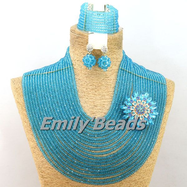 Big African Wedding Beads Jewelry Set Fashion Nigerian Bridal Crystal Beads Necklace Jewelry Set 2015 Hot Free Shipping AMJ154