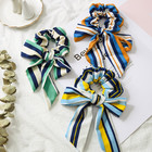 Vintage Flower Hair Ties with Streamers DIY Bowknot Scrunchies Ponytail Holder Scrunchy Hair Scarf 2019 Hair Accessories