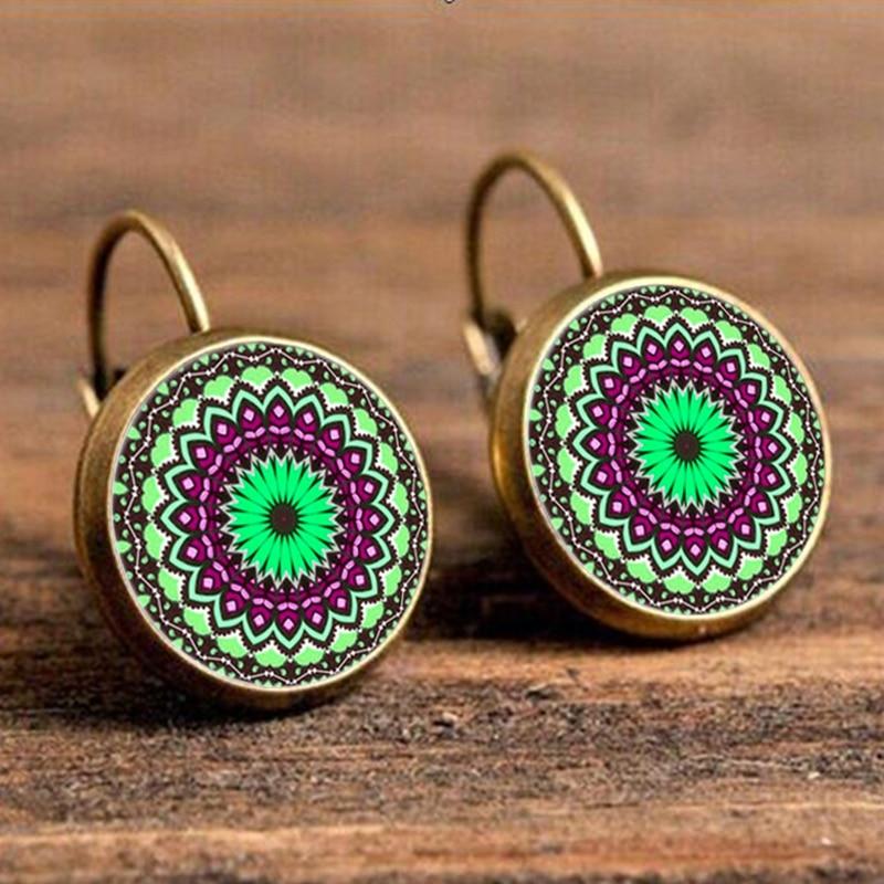 2016 Classic Lotus mandala jewelry earrings earring nail henna om symbol Zen Buddhism retro handmade yoga pending for EF10