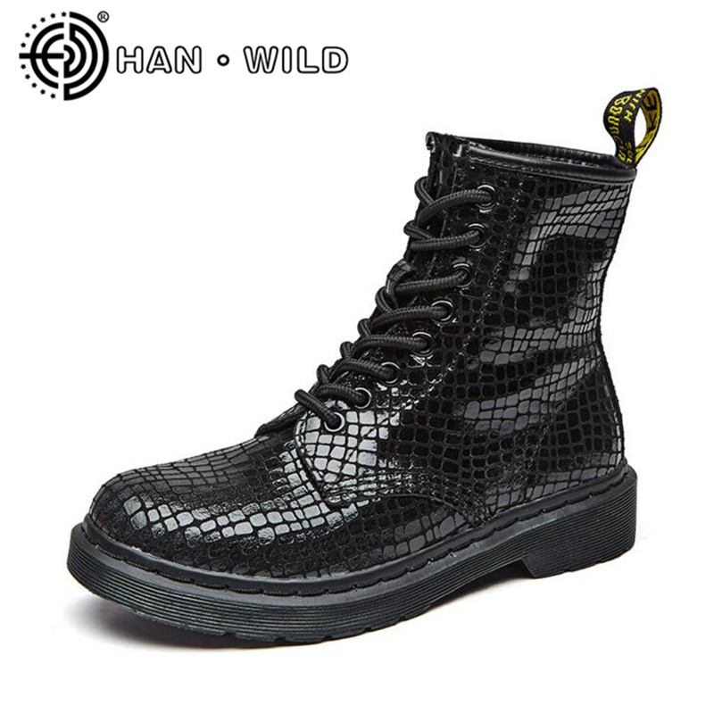 Women Shoes Spring Autumn Bright Black Martin Boots Lace Up Platform Ankle Boots Quality Genuine Leather Female Motorcycle Boots z suo brand new winter women motocycle boots leather lace up ankle martin boots shoes black brown high quality