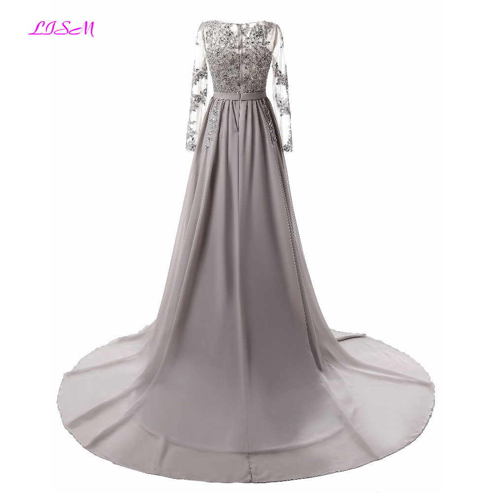 Elegant Court Train Evening Dresses Illusion Lace Appliqued Long Sleeves Prom Gowns A-Line Empire Crystals Chiffon Formal Dress