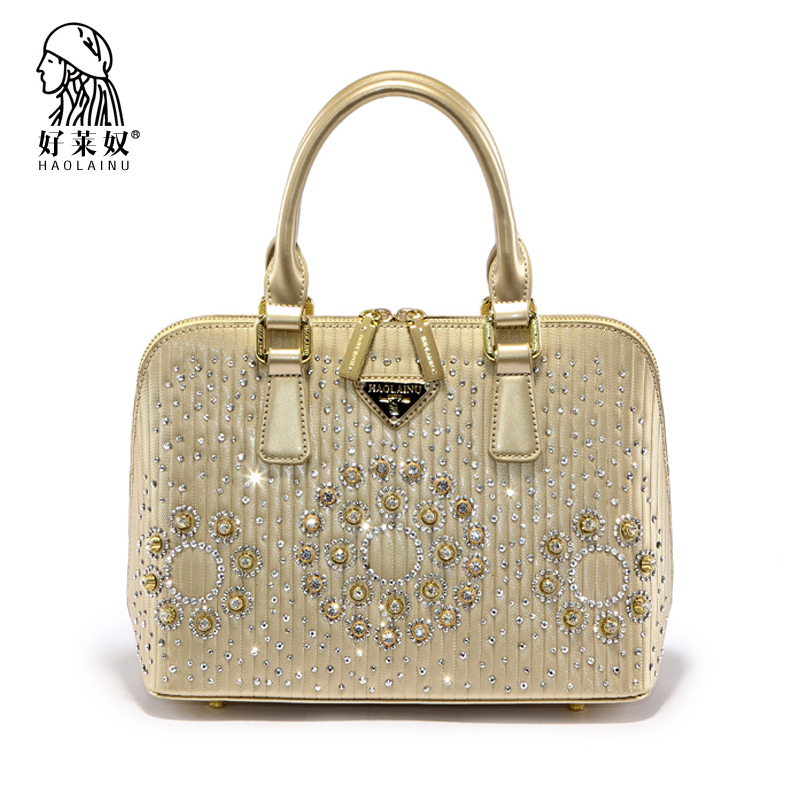 HAOLAINU Women Luxury Evening Bag Lady Diamond Crystal Party Wedding Handbag Gold 2017 Fashion Famous Designer Top-Handle Bag