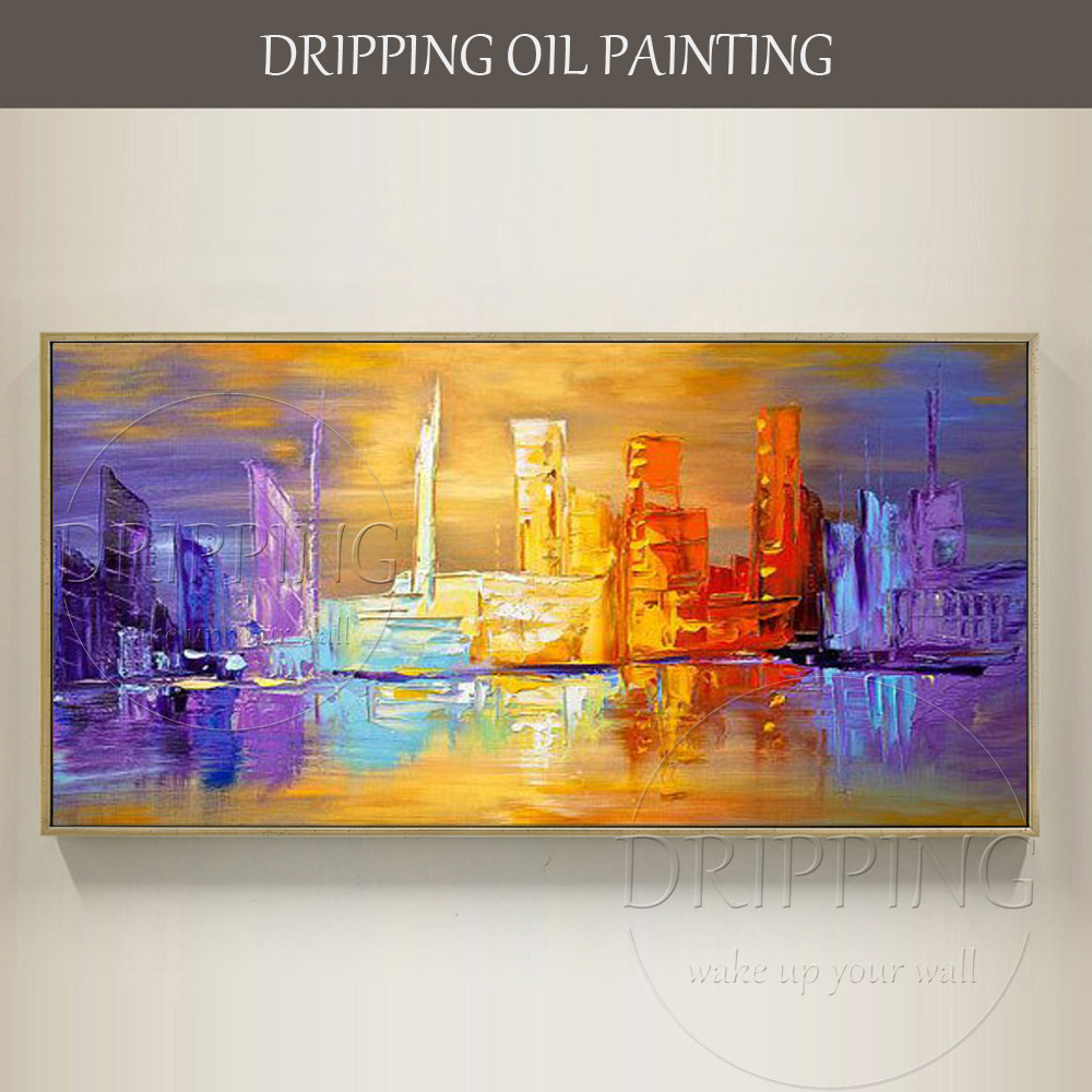Fashion Colors Modern Abstract Hand painted Abstract Cityscape Oil ...