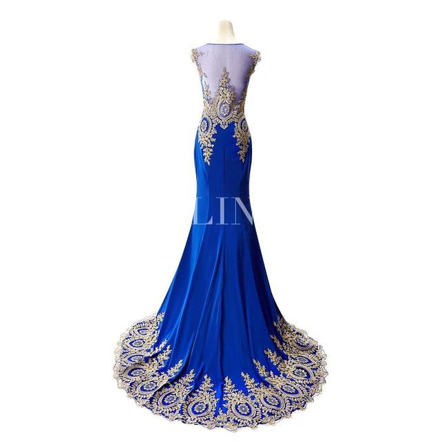 Sexy Sheer Lace Mermaid Long  Prom Dresses under 50 Elegant Royal Blue Evening Party Dresses Vestido de Festa Longo 2