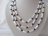Beautiful 3rows big 25mm white baroque pearls blue lapis lazuli necklace