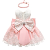 2019 summer infant Baby Girl Dress Lace Big bow Pink Baptism Dresses for Girls 1st year birthday party wedding baby clothing