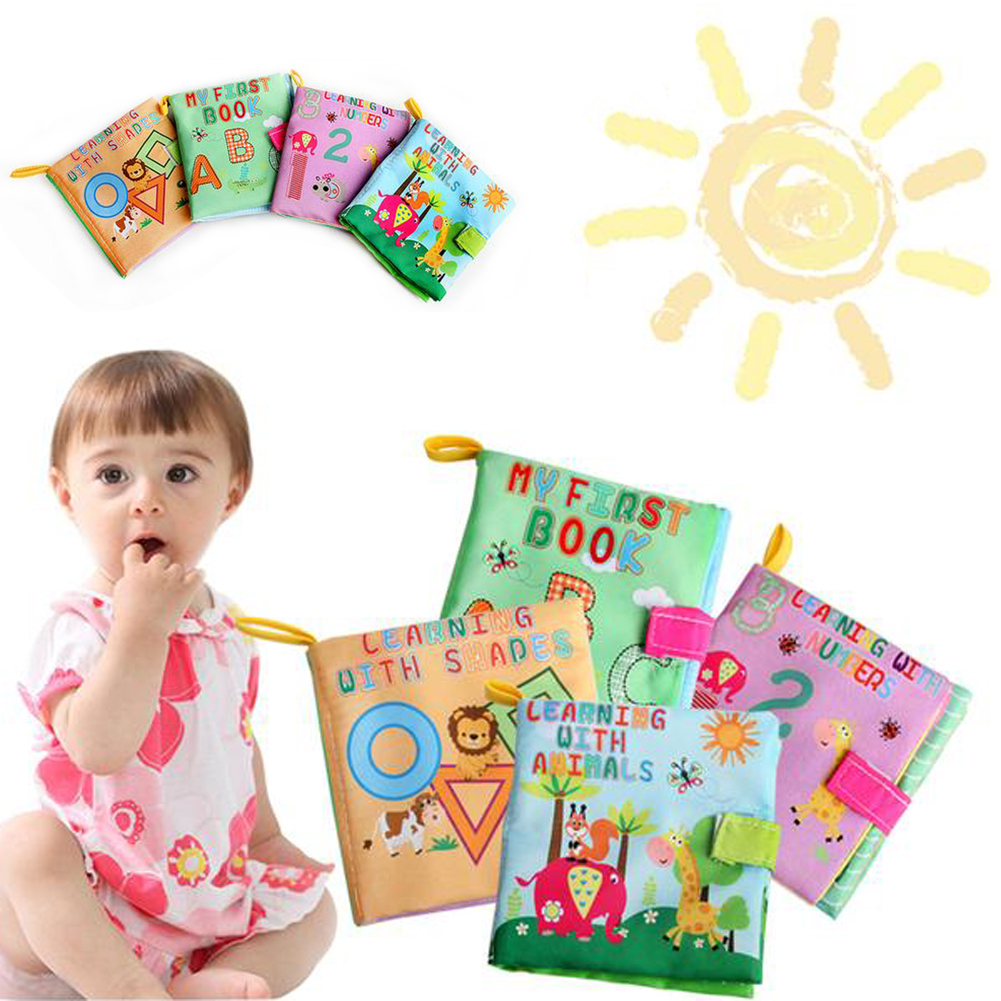 Baby Washable Soft Cloth Book Toys Infant Kids Early Educatioal Rattle Toy Geometry Letter Number Animal
