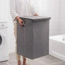 Baumwolle Wäsche Korb Mit Abdeckung Bad Wäsche Korb Große Küche Storage Basket Home Faltbare Wasserdichte Wäschekorb