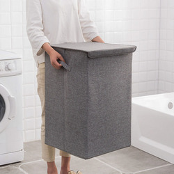 Cotton Laundry Basket With Cover Bathroom Laundry Basket Large Kitchen Storage Basket Home Collapsible Waterproof Laundry Hamper