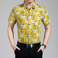 2016 Новый стиль мужской летней мода цветы печать гавайский тропический хлопчатобумажную рубашку