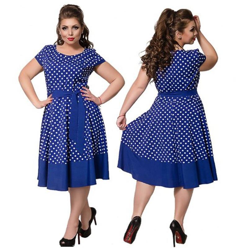 531552525c 2018 Summer Dress Polka Dot Cute Beach Dress Plus Size Women Clothing Flare Casual  Women Dress 5XL 6XL Loose Dress Vestidos