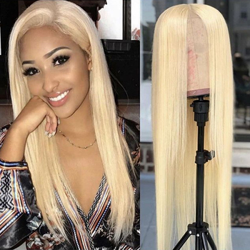 Poker Face Transparent 613 Blonde Lace Front Wig Preplucked with Baby Hair Straight Peruvian Remy Huamn Hair Lace Wigs