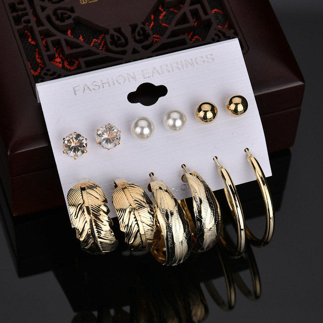6pair/set Boemian Silver Gold Color Big Hoop Earrings for Women CZ Crystal Simul