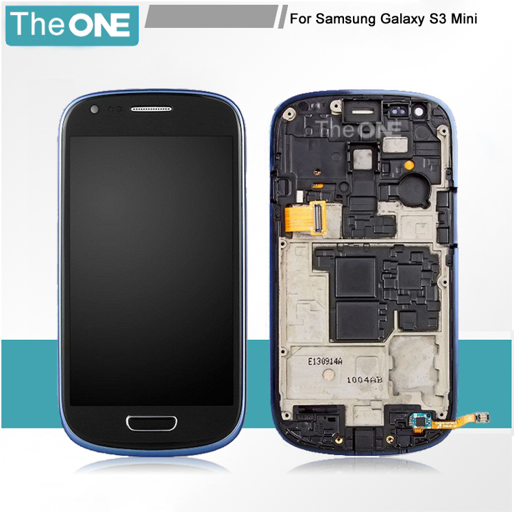 White/Blue/White For Samsung Galaxy S3 Mini i8190 LCD Display Touch Screen Digitizer Assembly with Frame Parts Free Shipping
