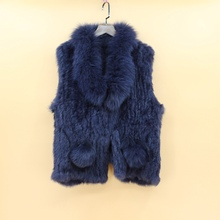 real knitted rabbit fur vest women with genuine fox fur collar hot selling spring autumn waistcoat gilet female sleeveless coats