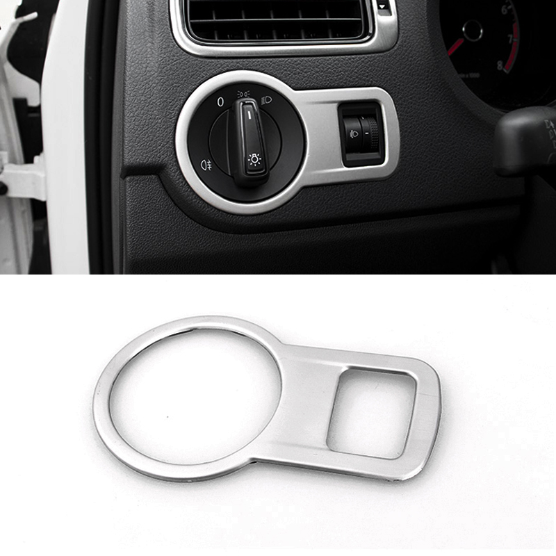 Car Styling Stainless Steel Headlight Switch Button Sequins Dedicated Interior Chrome Trim Cover For VW Polo 2014- 2016 car styling abs headlight switch button sequins dedicated interior chrome trim cover for subaru outback 2015 trim decoration