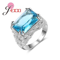 JEXXI New Big Rectangle Blue Crystal Women 925 Sterling Silver Rings For Engagement Accessory Fashion Brides