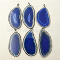 WT-NP242 Wholesale Fashion Blue Slice Agate Pendant with rhiestone beaded paved,in random shape blue stone pendant agate stone