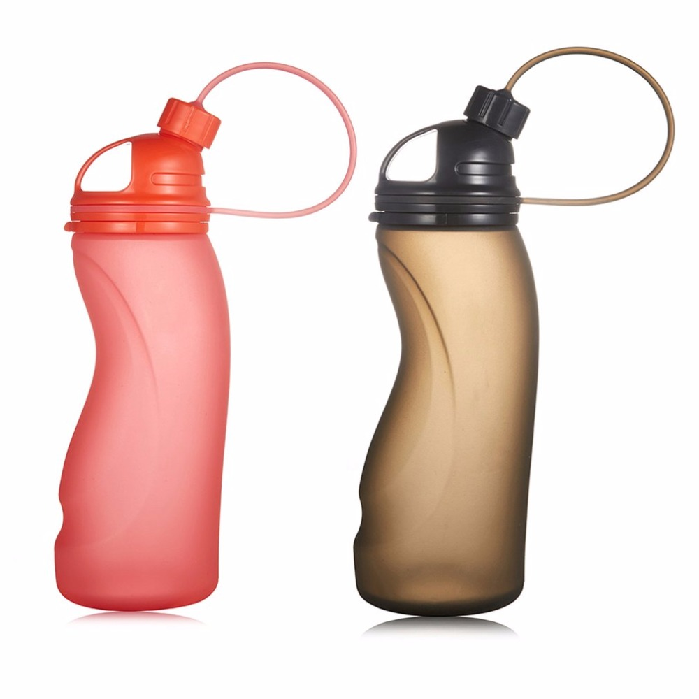 Innovative Food Grade Silicone Sports Foldable Water Bottle for Outdoor Cycling Climbing Sports DH-006 500ML New