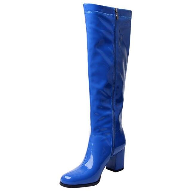 Boot Winter Stiefel Glitter Patent Plüsch Regen Frauen Kurze Leder Shiny Go Größe Chunky Plus Grün Ferse Kniehohe Schuhe Med ID9EH2