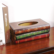 Hot Selling Retro Tissue Box Fake Book Tissue Holder Tissue Box Cover European Style Classic Restaurant Decoration F flower print tissue cover
