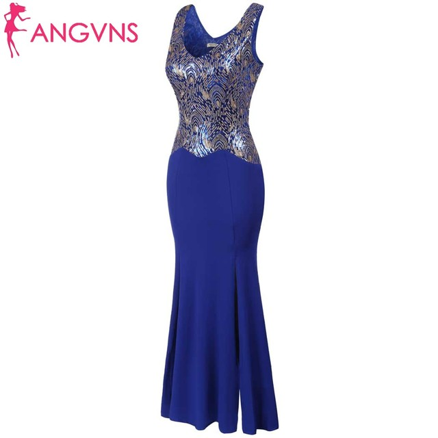 ANGVNS Women Dresses New Fashion with O-neck Sleeveless Sequins Patchwork Split Mermaid Formal Evening Vestido de Feasta