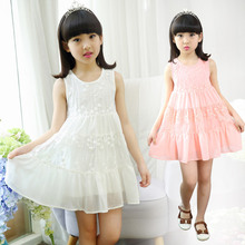 Summer Wear New Children's Girls Princess Dress Sleeveless Kids Clothing White Pink Blue Lace Cotton