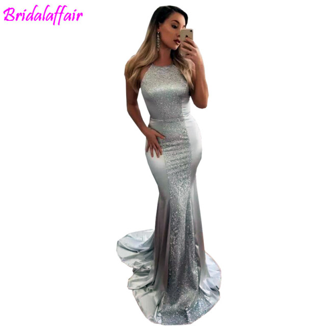 a8171f8d0ff1 Silver Mermaid Elatic Satin Prom Gowns Sexy Backless Formal Party Dress  Evening Wear Sex Long Dresses evening dresses long